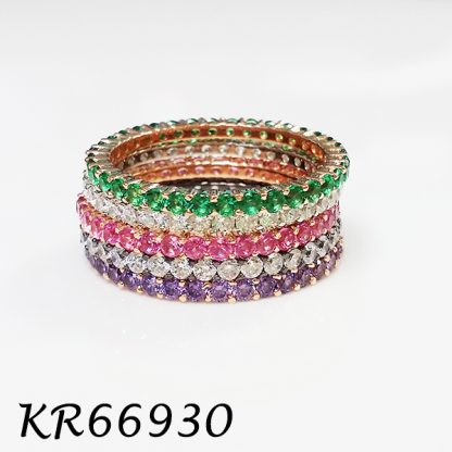 Pave Color CZ Band Ring - KR66930