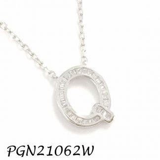 """PGN21062W-""""Q"""" Baguette Initials CHAIN NECKLACE MIN.$100 -20% 6PCS-30% 12PCS-40%"""