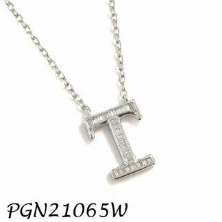 """PGN21065W-""""T"""" Baguette Initials CHAIN NECKLACE MIN.$100 -20% 6PCS-30% 12PCS-40%"""
