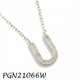 """PGN21066W-""""U"""" Baguette Initials CHAIN NECKLACE MIN.$100 -20% 6PCS-30% 12PCS-40%"""