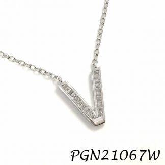 """PGN21067W-""""V"""" Baguette Initials CHAIN NECKLACE MIN.$100 -20% 6PCS-30% 12PCS-40%"""