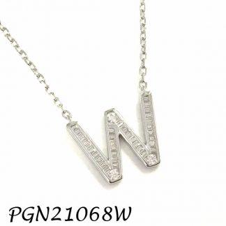 """PGN21068W-""""W"""" Baguette Initials CHAIN NECKLACE MIN.$100 -20% 6PCS-30% 12PCS-40%"""