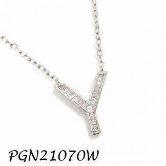 """PGN21070W-""""Y"""" Baguette Initials CHAIN NECKLACE MIN.$100 -20% 6PCS-30% 12PCS-40%"""