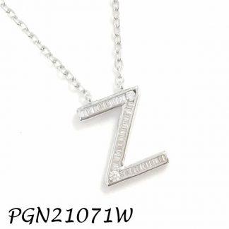 """PGN21071W-""""Z"""" Baguette Initials CHAIN NECKLACE MIN.$100 -20% 6PCS-30% 12PCS-40%"""