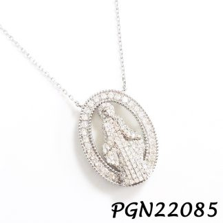 Virgin Mary Pave CZ Silver Necklace - PGN22085