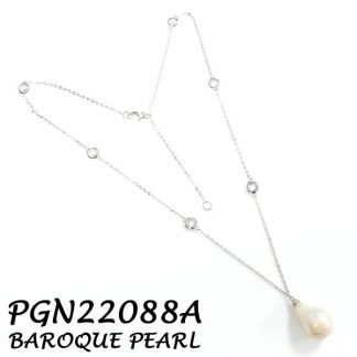 Baroque Pearl Drop with Diamond By The Yard CZ Silver Necklace - PGN22088A