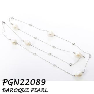 Baroque Pearl with Diamond By The Yard CZ Silver Necklace - PGN22089