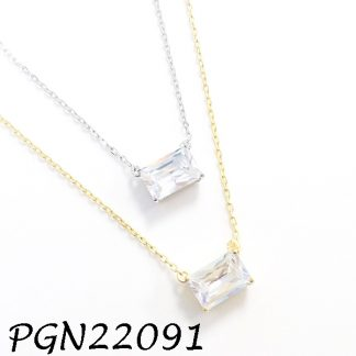 Emerald Cut CZ Solitaire Silver Necklace - PGN22091