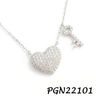 Heart and Key Pave CZ Silver Necklace - PGN22101