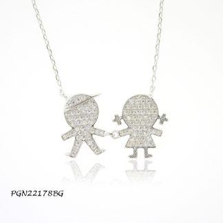 Boy & Girl Pave CZ Kids Necklace - PGN22178BG