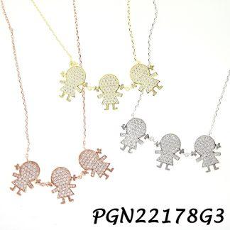 3 Girls Pave CZ Kids Necklace - PGN22178G3
