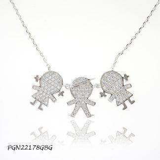 Girl Boy Girl Pave CZ Kids Necklace - PGN22178GBG