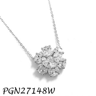 Marquise Flower CZ Necklace - PGN27148W