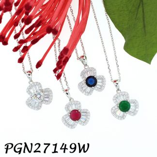 Color CZ Baguette Flower Necklace - PGN27149W