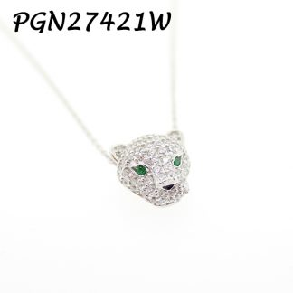 Panther Pave With Emerald Eye Necklace - PGN27421W