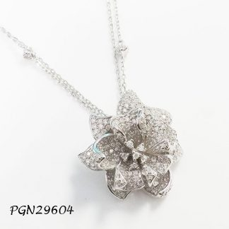 White Flower Pave CZ with Double Pave Chain Necklace - PGN29604