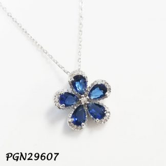 Color CZ Flower Necklace - PGN29607