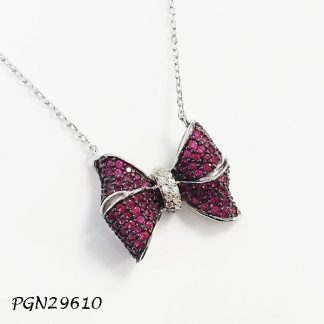 Pave Bow Necklace - PGN29610