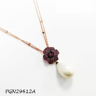 Rose Flower Tear Drop Pearl with Double Pave Chain Necklace - PGN29612A