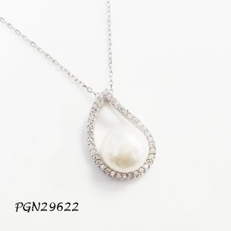 Tear Drop Pave CZ Fresh Water Pearl Necklace - PGN29622