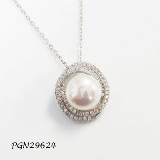 Swirl Pave CZ Fresh Water Pearl Necklace - PGN29624