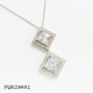 Diamond Shaped CZ Necklace - PGN29681