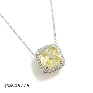 Square Halo Color CZ Necklace - PGN29776