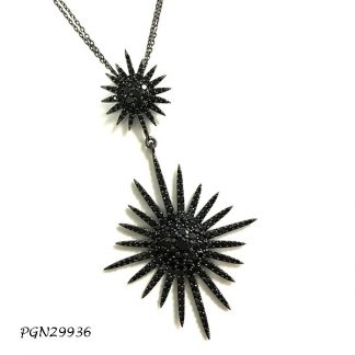 Large Star Pave Black Spinel CZ with Double Chain Necklace